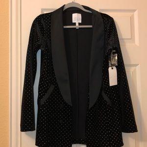 Nordstrom Leith Velvet Tuxedo Dots Blazer Jacket